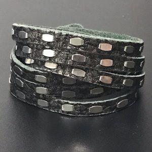 Jewelry - Leather & Silver Wrap Bracelet/Choker